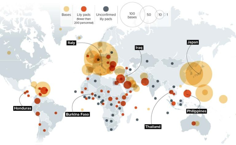 Known locations of U.S. military bases around the world (Source: Politico)