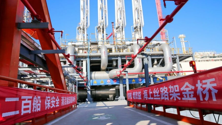 An LNG terminal in Yangkou Port in Nantong city, which is in China's Jiangsu province. Photo: AFP