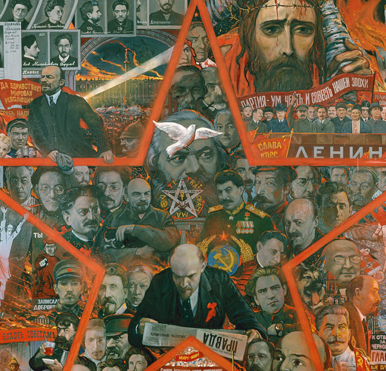 A detail from the monumental painting 'The Great Experiment' (1990) which has many references to the Jewish role in the Russian Revolution (Click to go to hi-resolution image)