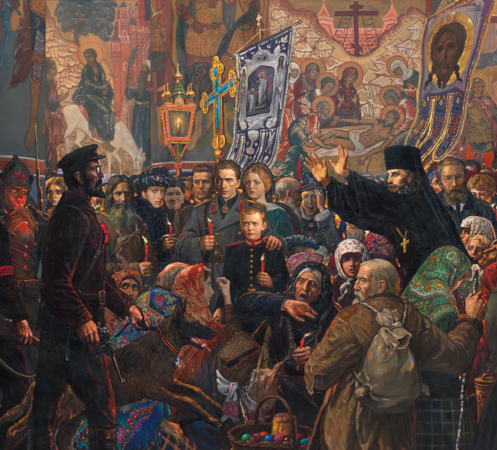 A Jewish bolshevik shutting down an Easter midnight service. Detail from a larger monumental painting from 1999 by Ilya Glazunov. (Click for full image)