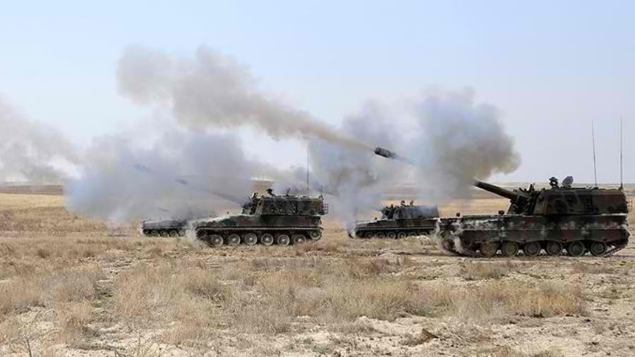 Turkish artillery firing into northern Syria