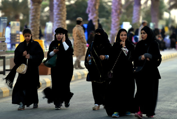 Saudi women arrive to attend the Janadriyah festival of Heritage and Culture north of Riyadh (AFP)