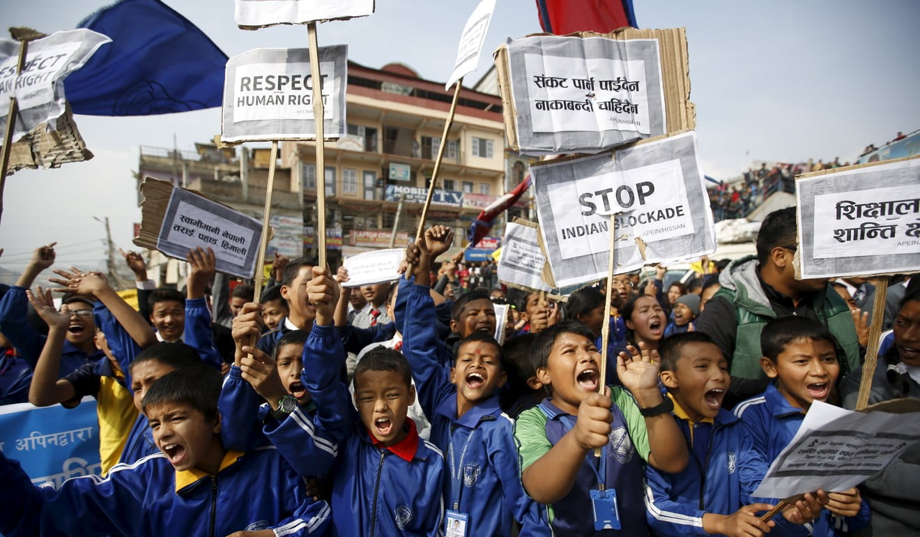 Pupils in Kathmandu protest against the Indian blockade in November 2015. Photo: Reuters