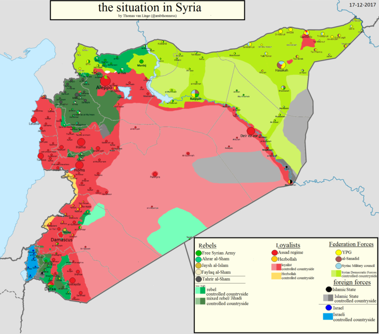 A map of Northeast Syria showing territory controlled by Syria (red), the SDF (light green), and ISIS (black), as of December 2017; ISIS pocket east of the Euphrates river are indicated with arrows.