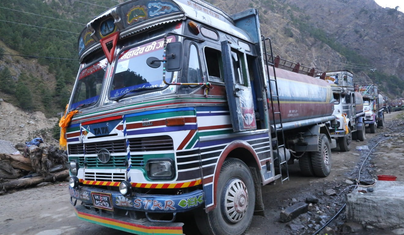 Nepal Oil Corporation tankers arrive carrying Chinese petrol during the blockade. Photo: Xinhua