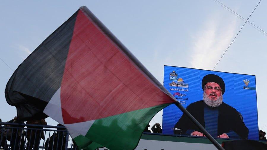 Lebanon's Hezbollah leader Sayyed Hassan Nasrallah speaks via a screen, Lebanon © Aziz Taher / Reuters