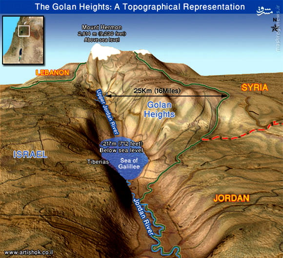 A topographical representation of the Golan Heights, including it's precious water resources centering around the Sea of Galilee. (Graphic courtesy of Mashregh News)