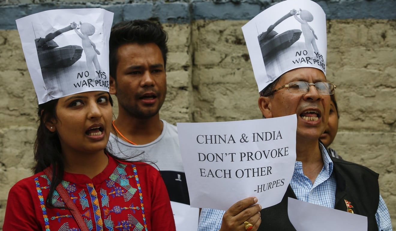 Nepali human rights activists protest in front of the Chinese Embassy in Kathmandu. Photo: EPA
