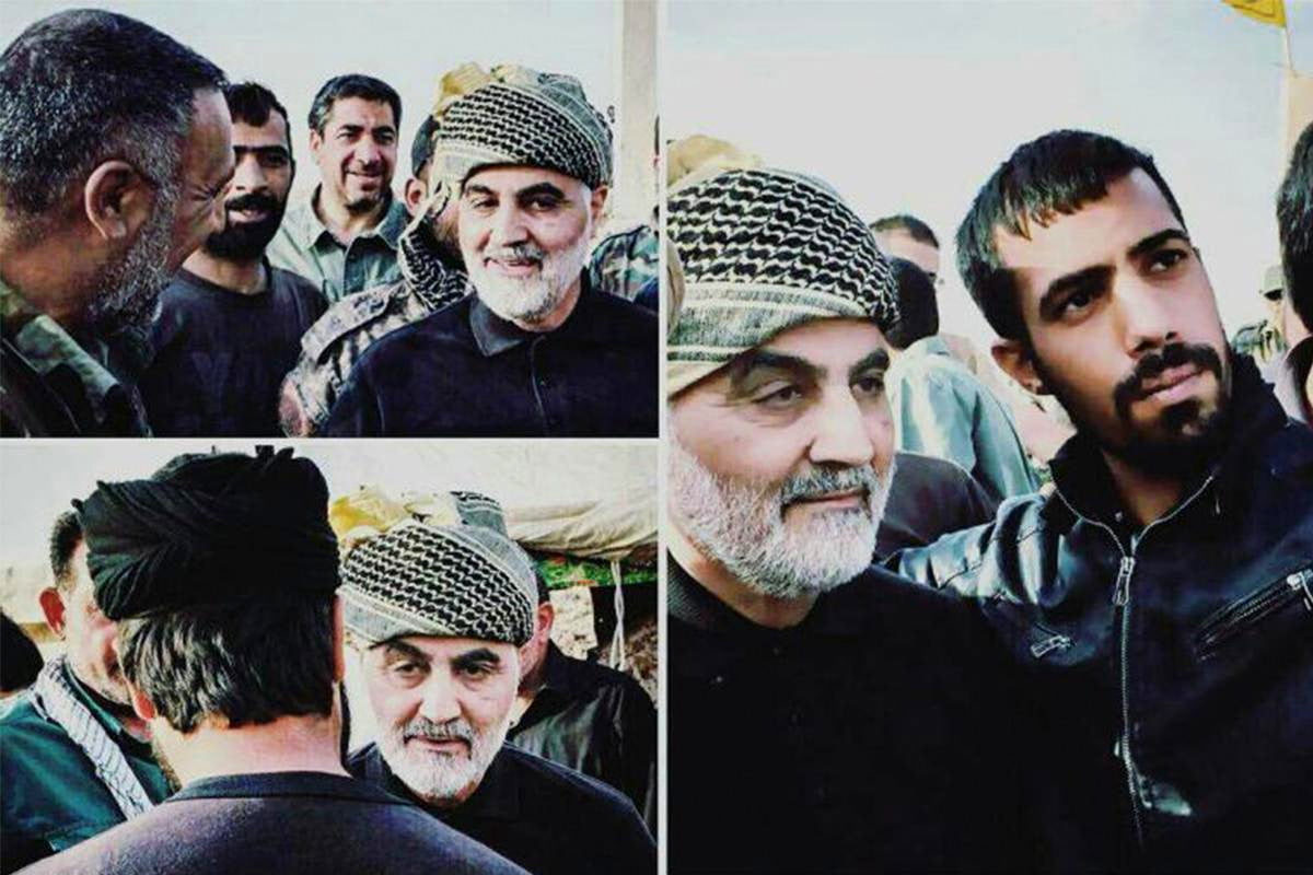 The head of Iran's volunteer militia corp, the Badr Brigades, General Qasem Soleimani meets with fighters battling ISIS in Abu Kamal, Syria. (Photo: Social Media)