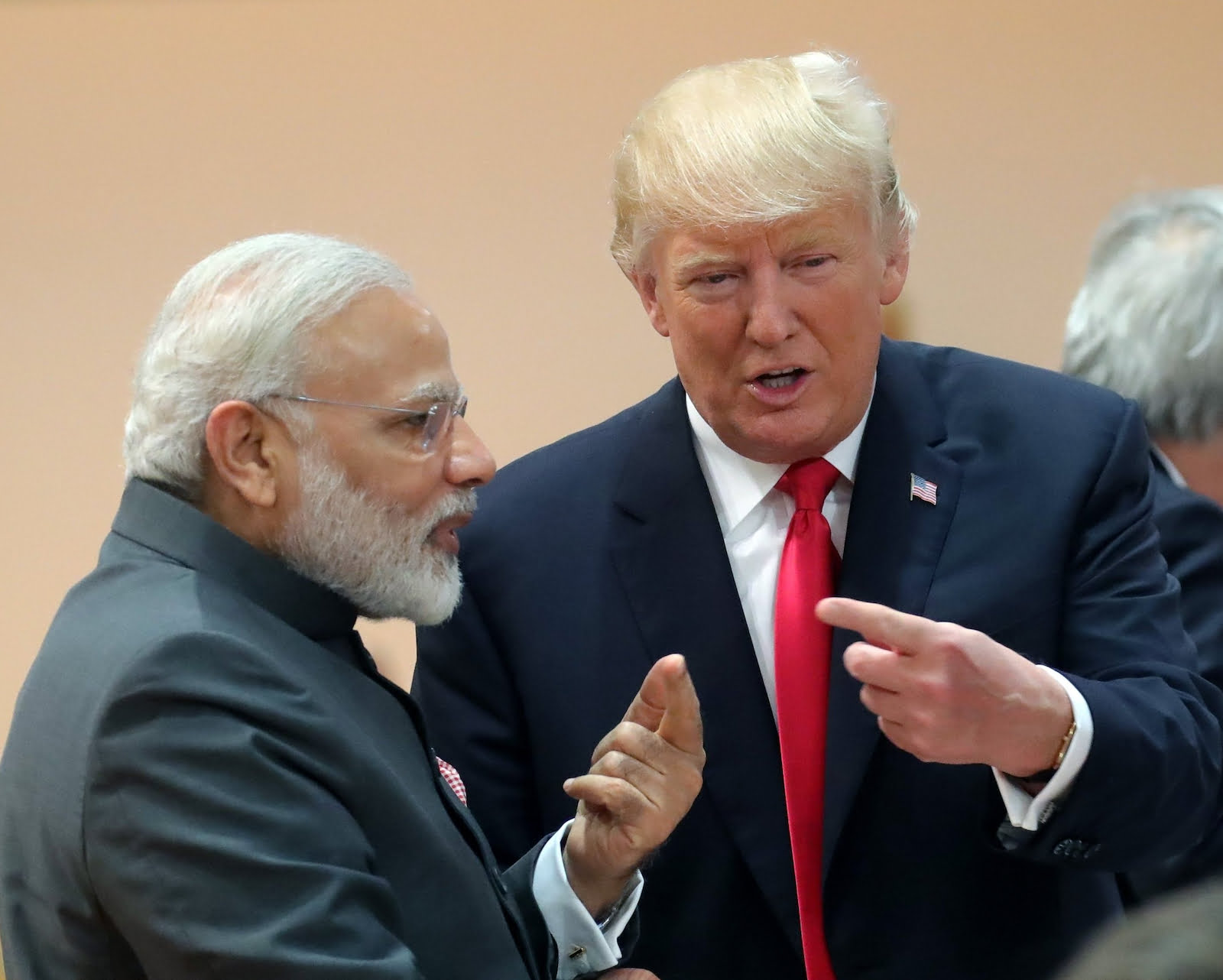 Indian Prime Minister Narendra Modi with US President Donald Trump at the G20 Summit in Hamburg, Germany in July 2017. Photo: DPA