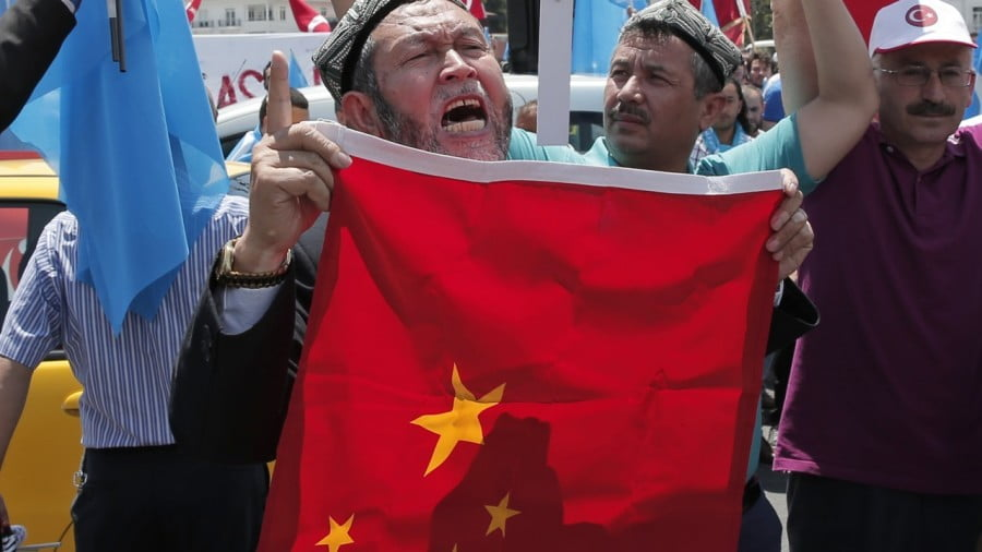 Uygurs in Turkey protest near China's consulate in Istanbul. File photo