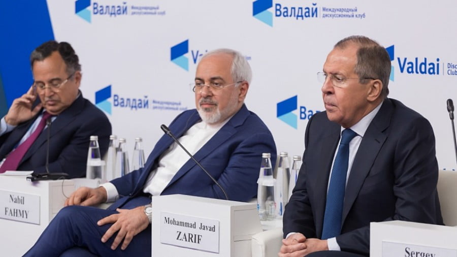 The top-level diplomats Nabil FAHMY (Egypt), Mohammad Javad ZARIF (Iran) and Sergey LAVROV (Russia) at the Middle East conference of Valdai Discussion Club, Moscow, Feb 2018