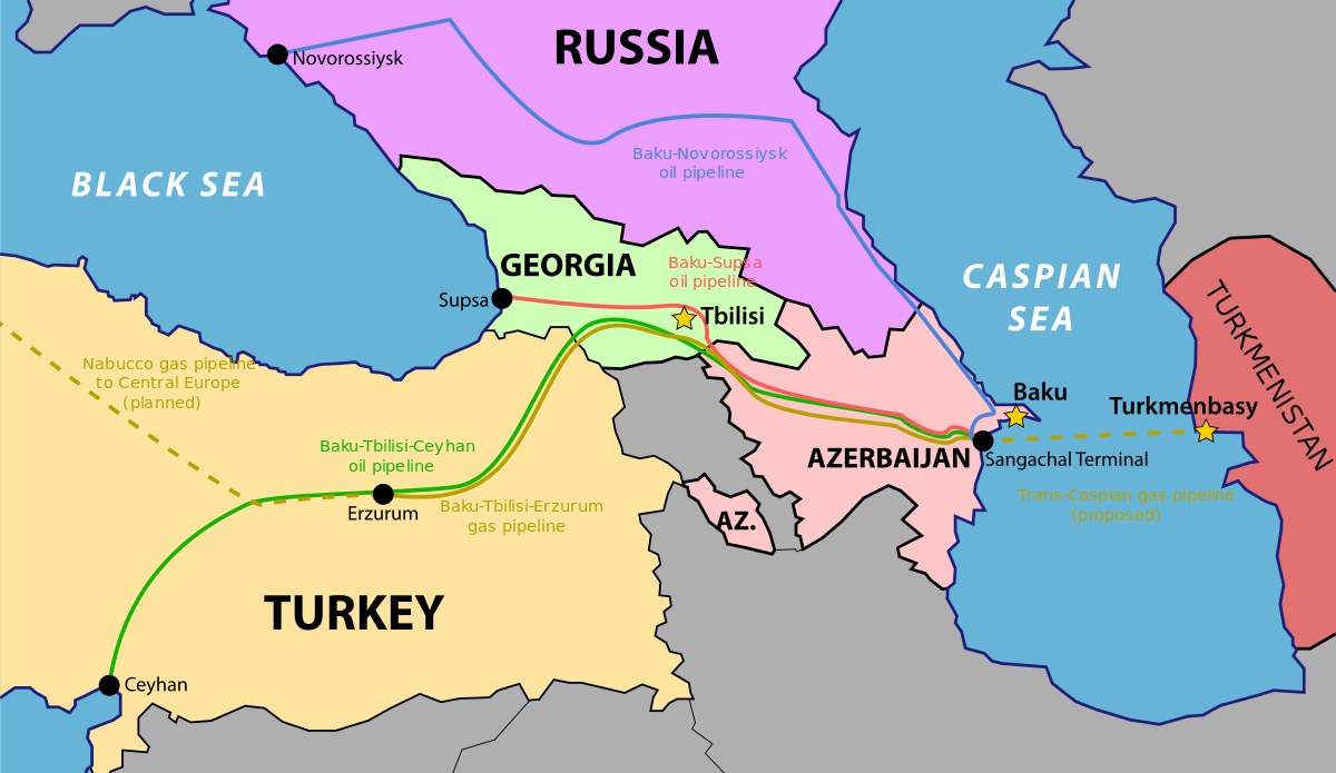 Map of Baku-Tbilisi-Ceyhan (BTC) pipeline