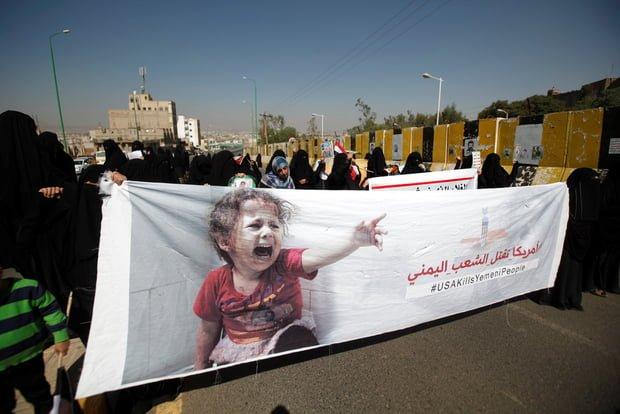Women protest in Sanaa over Saudi coalition air attacks (Reuters)