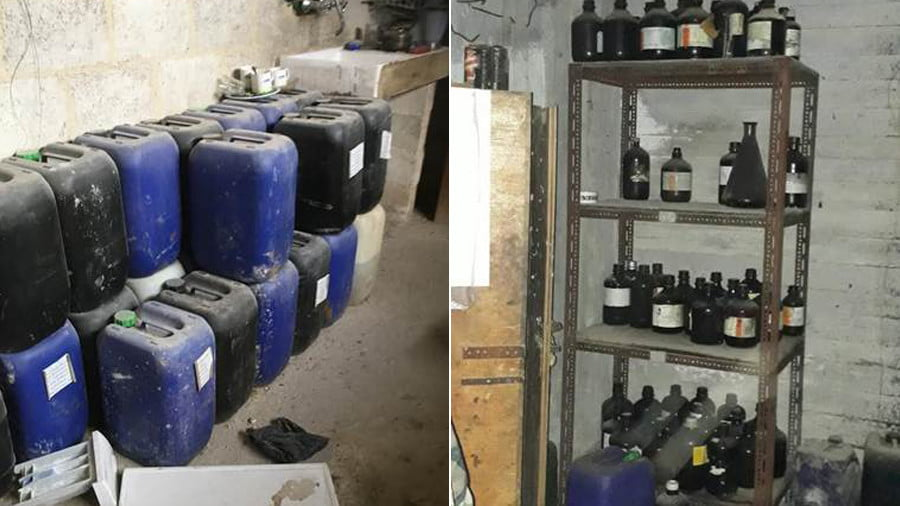 According to the SAA, these canisters lined up against the walls in several areas of the lab, contain chlorine / Shelves and cupboards of chemical substances are dotted around the facility's upper floor © Sharmine Narwani
