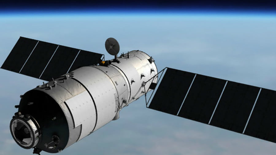 Computer-generated rendering of Tiangong-1 in orbit. © CMSA