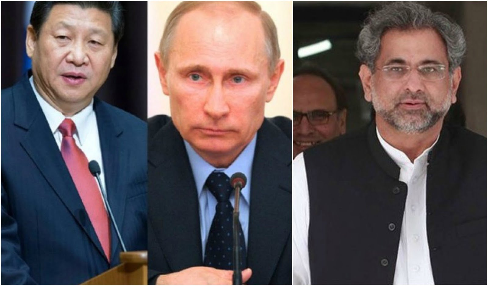 President of China (left), President of Russia (centre), Prime Minister of Pakistan (right)