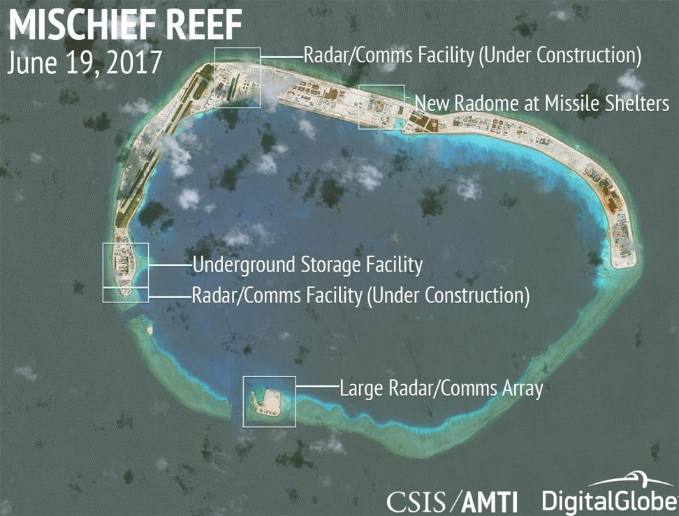 Chinese construction on Mischief Reef, Spratly Islands, in the disputed South China Sea. Photo: CSIS / AMTI DigitalGlobe