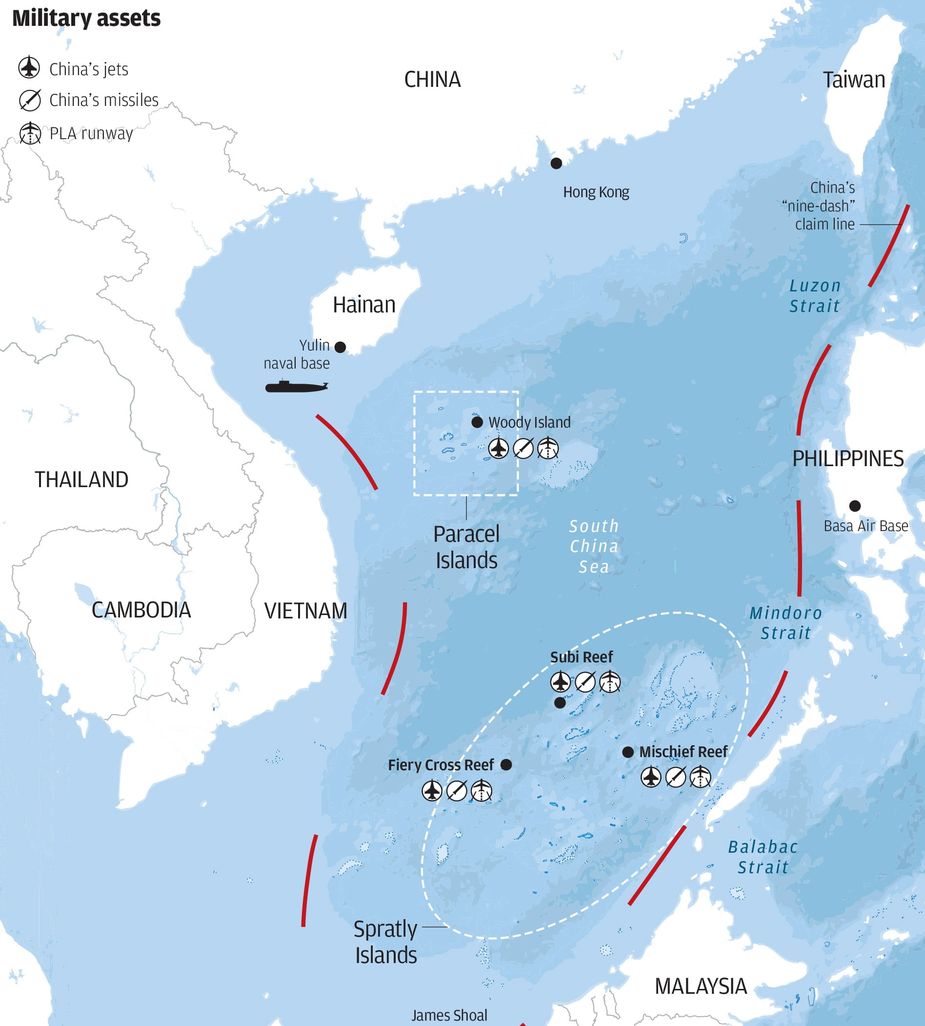Military bases in the South China Sea. Click to enlarge