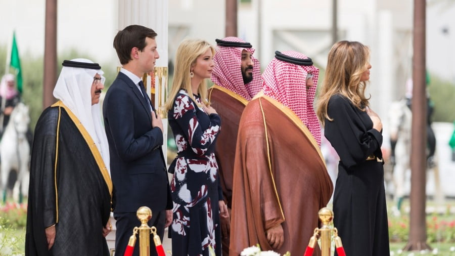 Mohammed bin Nayef and Mohammad bin Salman with Jared Kushner and Ivanka Trump on May 20, 2017, at the Royal Court Palace in Riyadh, Saudi Arabia. Photo: The White House/flickr