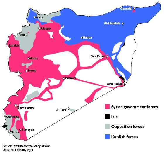 Areas of control across Syria
