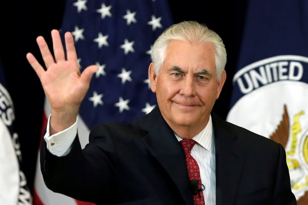 U.S. Secretary of State Rex Tillerson waves after delivering remarks in Washington