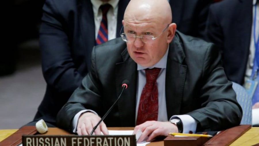 In a file photo, Russia's ambassador to the UN, Vasily Nebenzya. speaks to members of the Security Council on February 24, 2018. On Monday, Russia vetoed a Western-backed resolution targeting Iran. Photo: Reuters / Eduardo Munoz