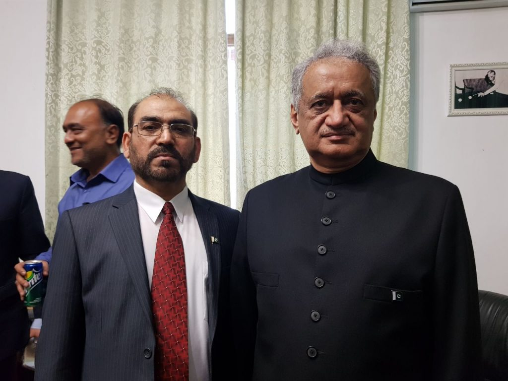 Ex-Baloch Nationalist Leader Dr Jumma Khan Marri (left) attended Pakistan Day gathering , hosted by Pakistan Embassy in Moscow, March 23, 2018
