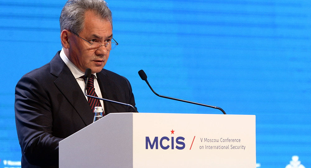 Russian Minister of Defence Serhei Shoigu speaking at the Moscow Conference on International Security in April 2018