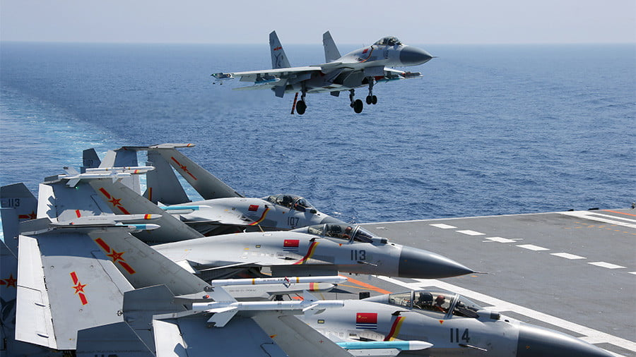 China's aircraft carrier formation conducts exercises in South China Sea © China Military