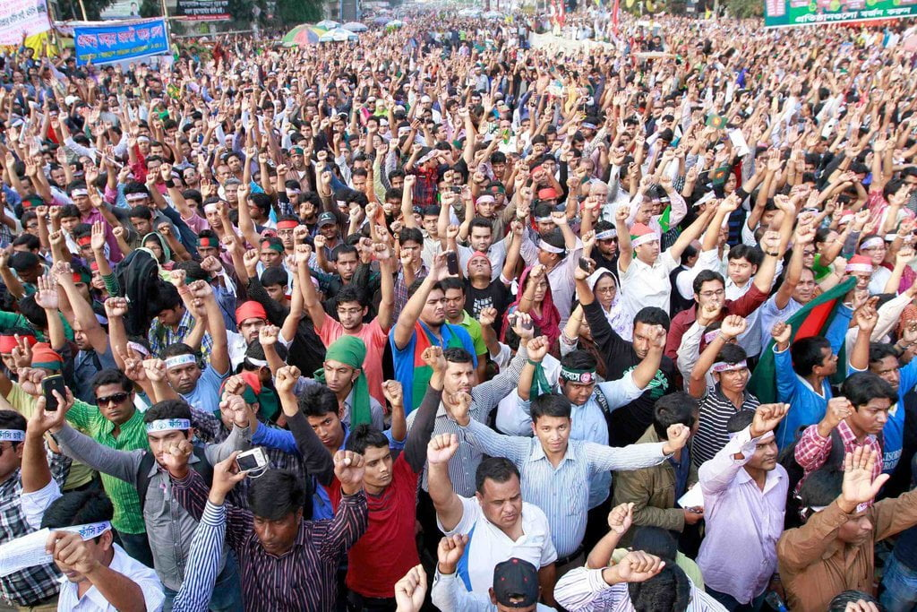 Supporters of the ruling Bangladesh Awami League