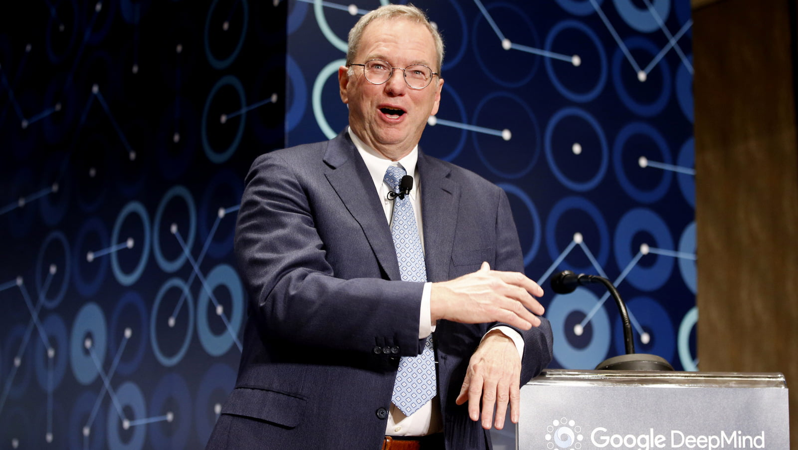 Eric Schmidt, then-executive chairman of Alphabet, speaks at a press conference at the Google DeepMind Challenge in Seoul, South Korea, March 8, 2016. (AP/Lee Jin-man)