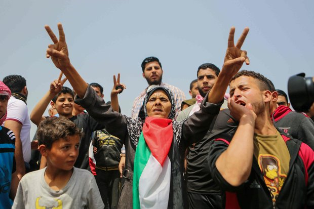 Gazans protest in April in Great March of Return demonstrations (AFP)