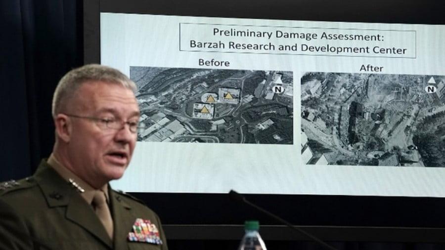 USMarine Lt. Gen. Kenneth F. McKenzie Jr. speaks during a news briefing at the Pentagon on 14 April (AFP)