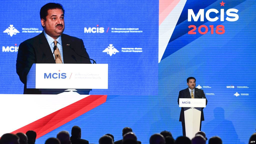 Pakistani Defense Minister Khurram Dastgir Khan speaking at the Moscow Conference on International Security in April 2018