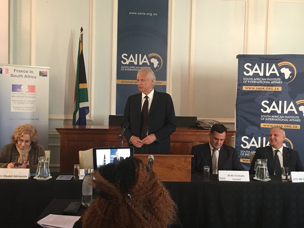 Dominique de Villepin speaking at the South African Institute of International Affairs (SAIIA)