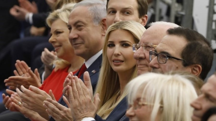 Israel's Prime Minister Benjamin Netanyahu (2nd L), his wife Sara Netanyahu (L), Senior White House Advisor Jared Kushner (3rd L), US President's daughter Ivanka Trump (C), US Treasury Secretary Steve Mnuchin (R) and Israel's President Reuven Rivlin (2nd R) attend the opening of the US embassy in Jerusalem on 14 May, 2018 (AFP)