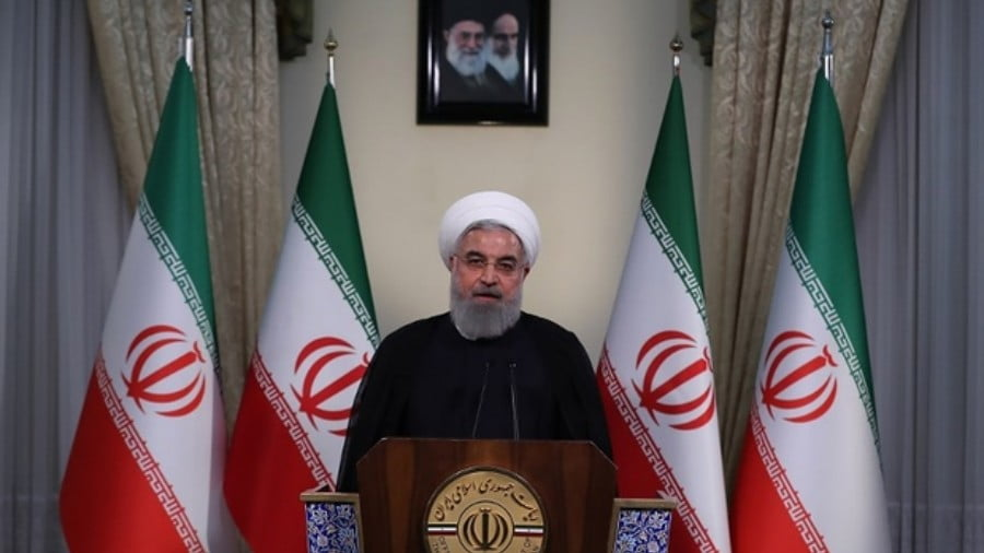 President Hassan Rouhani speaks in Tehran on 8 May 2018 after the US withdrawal from the Iran nuclear deal (HO/Iranian Presidency/AFP)