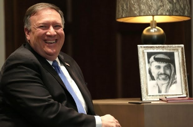 US Secretary of State Mike Pompeo meets with Jordan's king in Amman on 30 April 2018 (AFP)