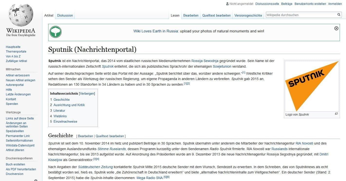 Screengrab of the Sputnik Deutschland Wikipedia entry. © Photo: Wikipedia/screenshot