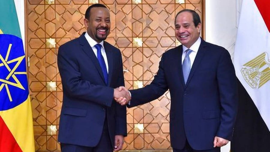 Eritrean President Isaias Afwerki, left, shakes hands with Egyptian President Abdel-Fattah el-Sissi at the presidential palace in Cairo, Egypt