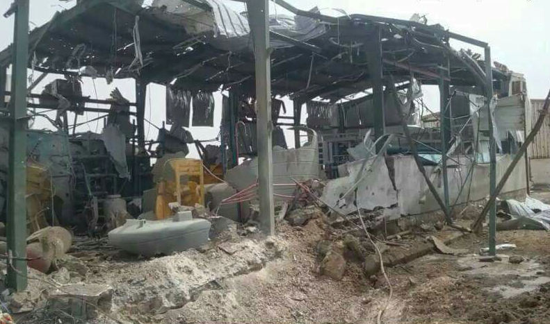 A water desalination plant destroyed by the Saudi coalition in Yemen at the height of the cholera outbreak.