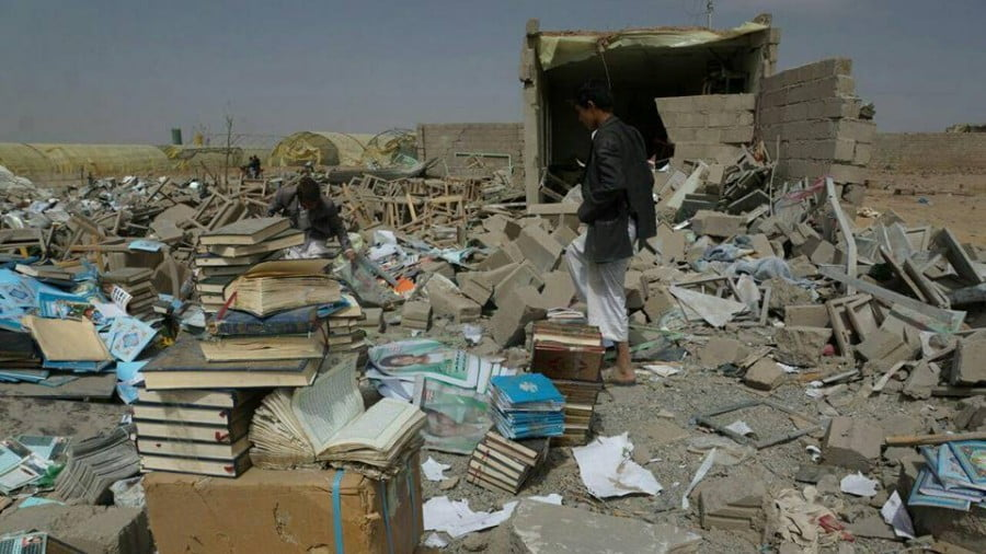 Saudi warplanes destroy a warehouse and education center honoring martyrs.