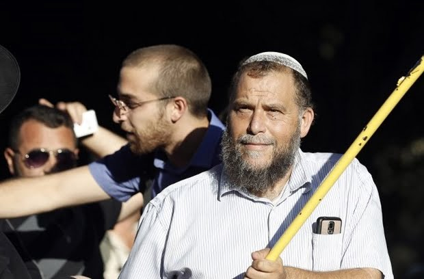 Benzy Gopstein, the leader of the Israeli extremist far right group Lehava takes part in a protest against the Gay Pride parade in Jerusalem on 21 July 2016 (AFP)