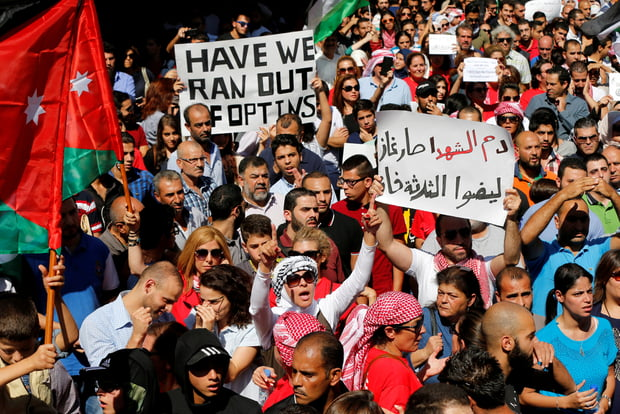Thousands gathered in Amman in 2016 to protest against the gas deal (Reuters)