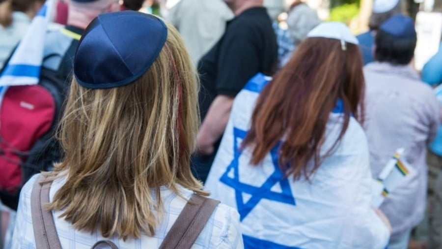 "People take part in the so-called ""Kippa Day"" against anti-Semitism in Hamburg, northern Germany on 14 May 2018 (AFP)"