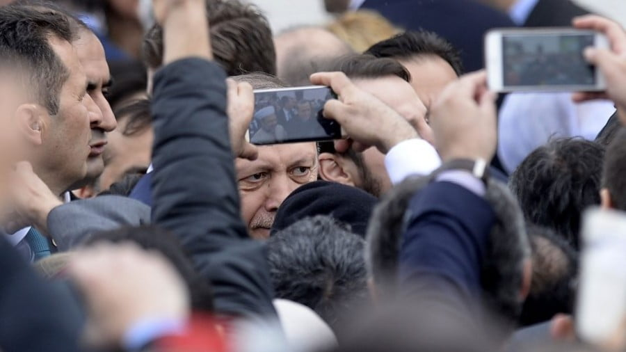 Turkey's President Recep Tayyip Erdogan arrives to inaugurate the Diyanet Islamic Cultural Center in the United States in April 2016. Photo: AFP/Olivier Douliery
