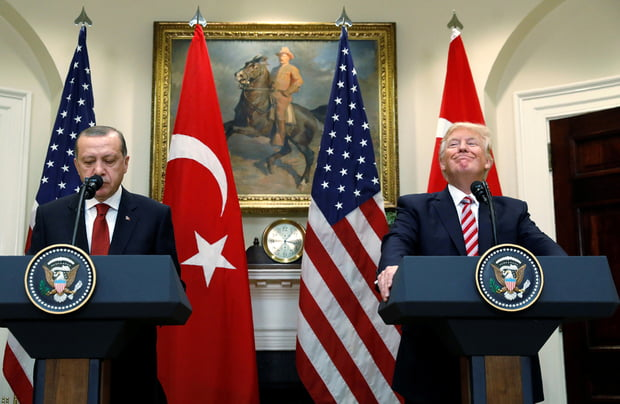Turkey's President Erdogan and Trump deliver statements to reporters in the Roosevelt Room of the White House in Washington