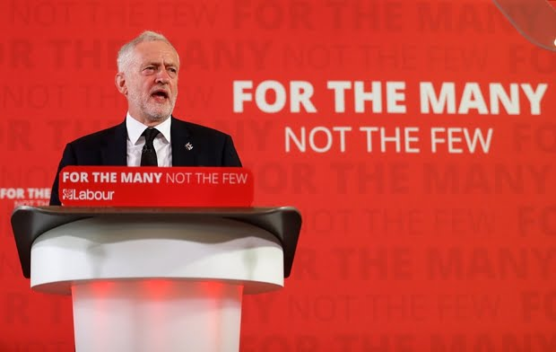 Jeremy Corbyn, the leader of Britain's opposition Labour party, makes a speech as his party restarts its election campaign after the cross party suspension that followed the Manchester Arena attack, in London