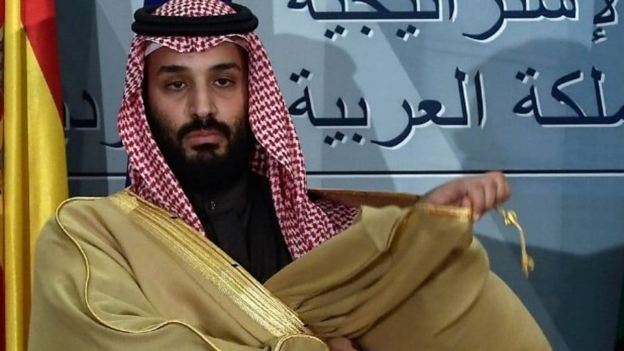 Saudi Arabia's crown prince Mohammed bin Salman poses at La Moncloa palace in Madrid on 12 April 2018 (AFP)